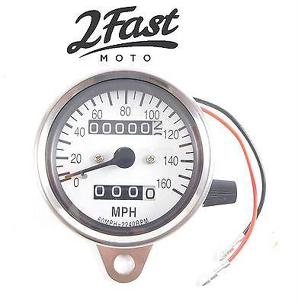 2FastMoto Chrome Speedometer Trip Odometer 0-160 Yamaha Cafe Racer 2.1:1 Ratio