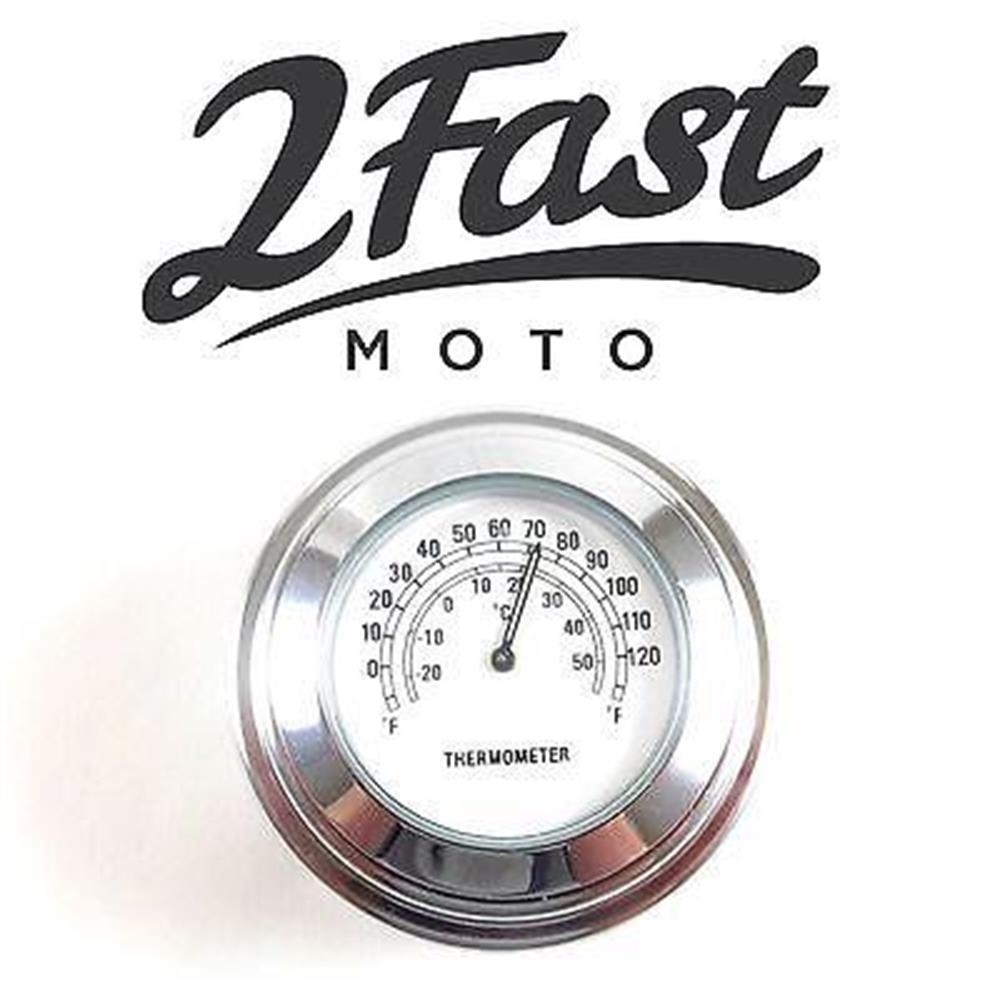 2FastMoto Handlebar Thermometer Chrome Body White Face Chopper Bobber Suzuki