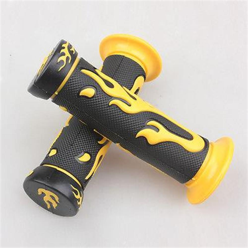 YELLOW Flame Grips Super Grip Set Scooter 7/8