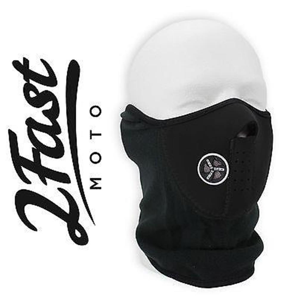 Black Half Face Fleece & Neoprene Face Mask With Ventilation Dirtbike Bultaco