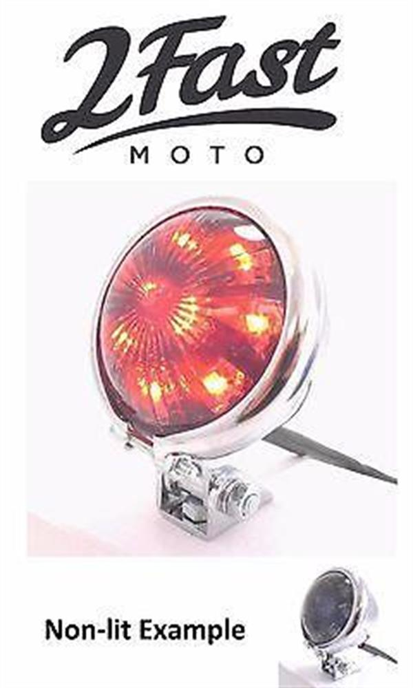 Bates Style Chrome Mini Taillight Retro 12V 12 Volt LED Tail Brake Light Harley
