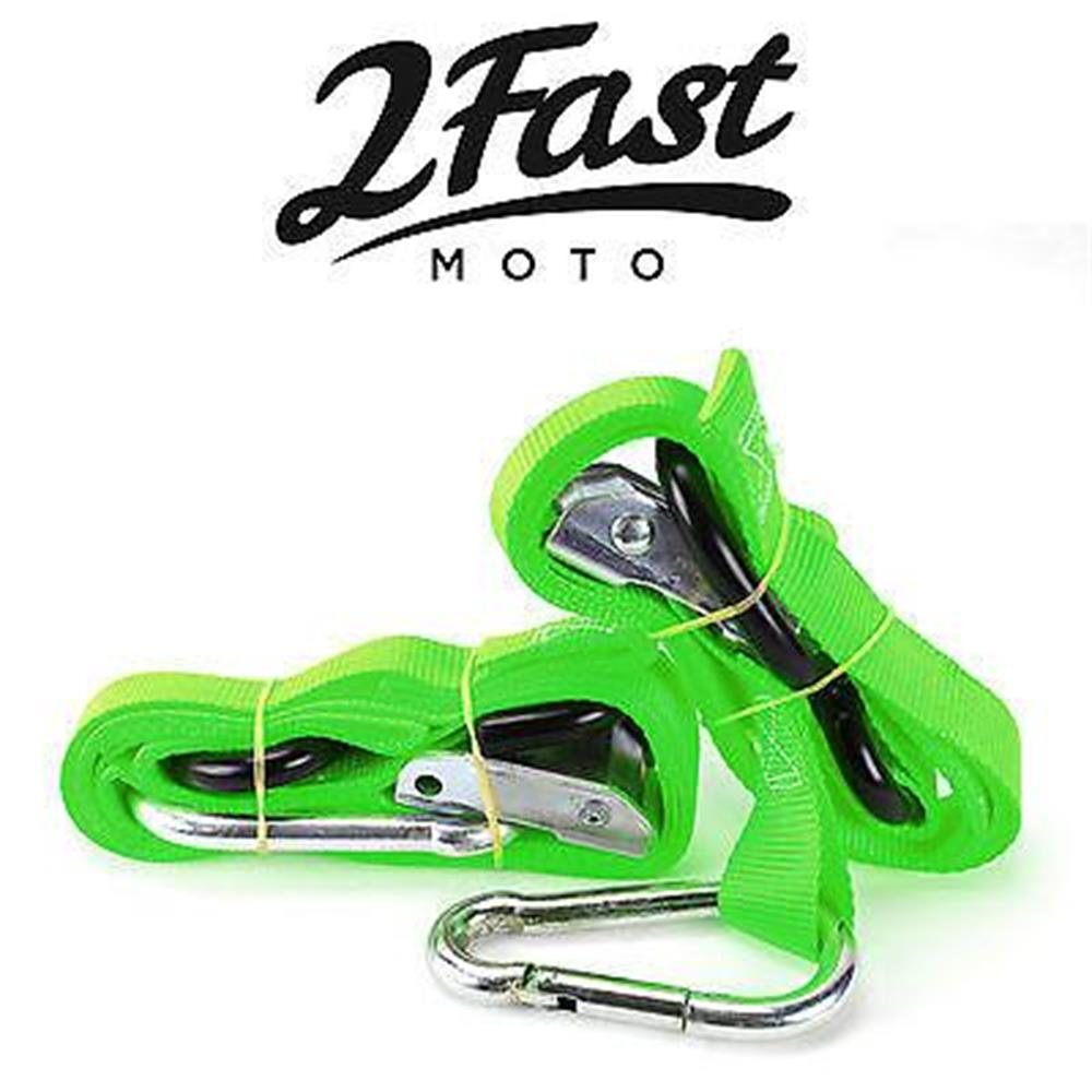 Green Heavy Duty Cam Buckle Tie Down 2pk w/ Assist Carabiner SnowMobile Alpine