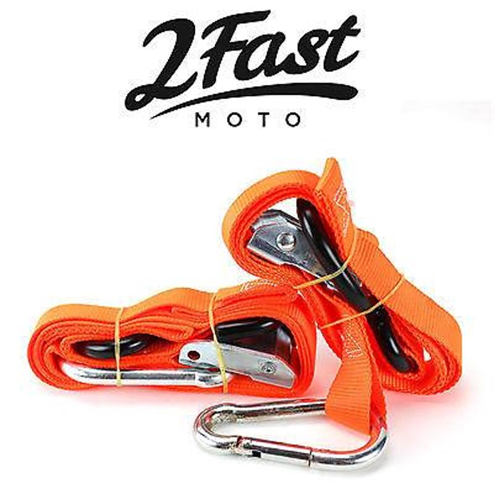 Orange Heavy Duty Cam Buckle Tie Down 2pk Assist Carabiner SnowMobile Kawasaki