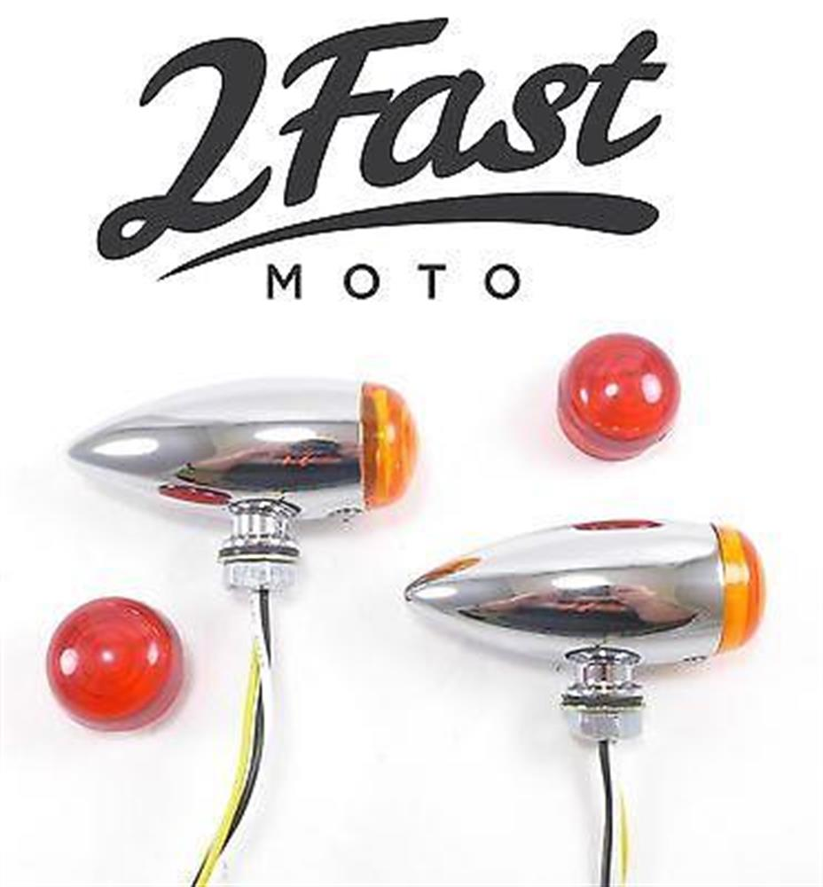 Chrome Bullet LED Metal Turn Signal Dual Filament Amber Red Lens Marker Suzuki