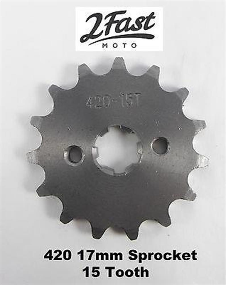 2FastMoto 17mm Engine Sprocket Front Countershaft 15T Z50 420 Chain Mini Bike