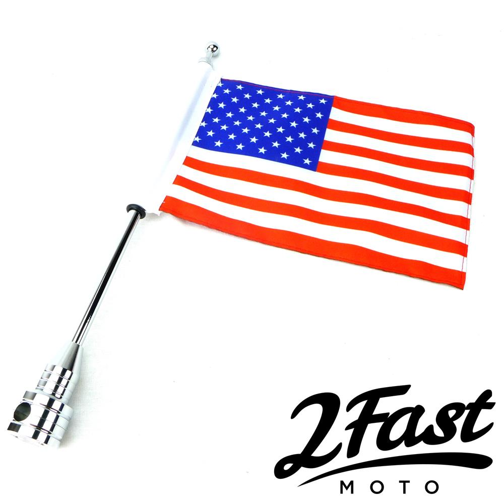 2FastMoto Motorcycle United States Flag Pole Mount 6 x 9 Chopper Bobber America