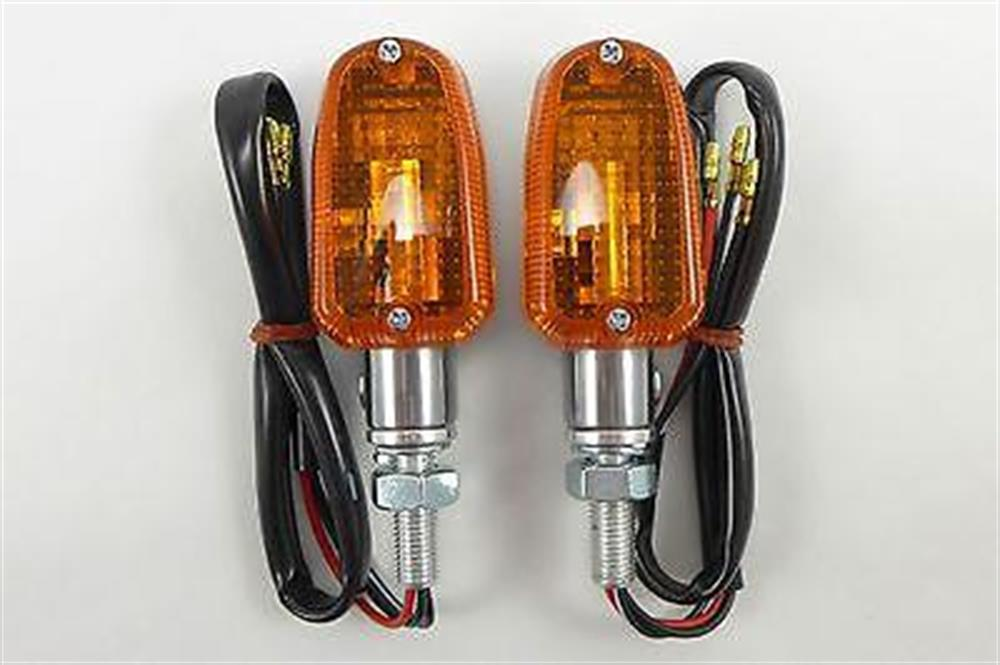 2FastMoto Mini Turn Signals Brushed Metal Dual Filament Front Rear Fits Most