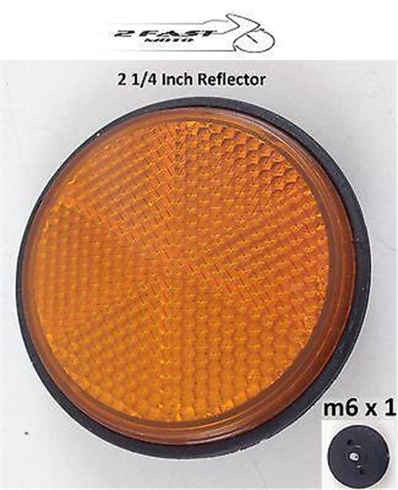 2FastMoto Motorcycle Amber Orange Round Reflector 2 1/4 in M6 X 1 Kawasaki