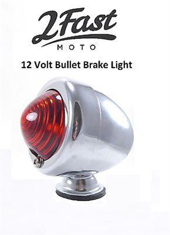 Chrome 12 Volt Bullet Lights Brake Turn Signal Blinker Flasher Triumph BMW