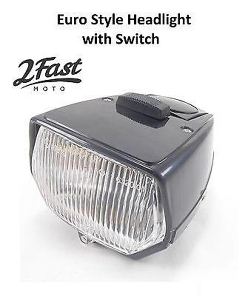 Moped Euro Style Body Headlight with On Off Switch Black Dual Filament European