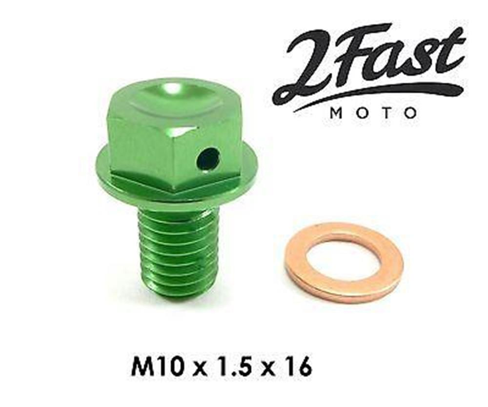 Kawasaki KX250F KX450F Magnetic Engine Oil Drain Plug Bolt Green Aluminum NEW