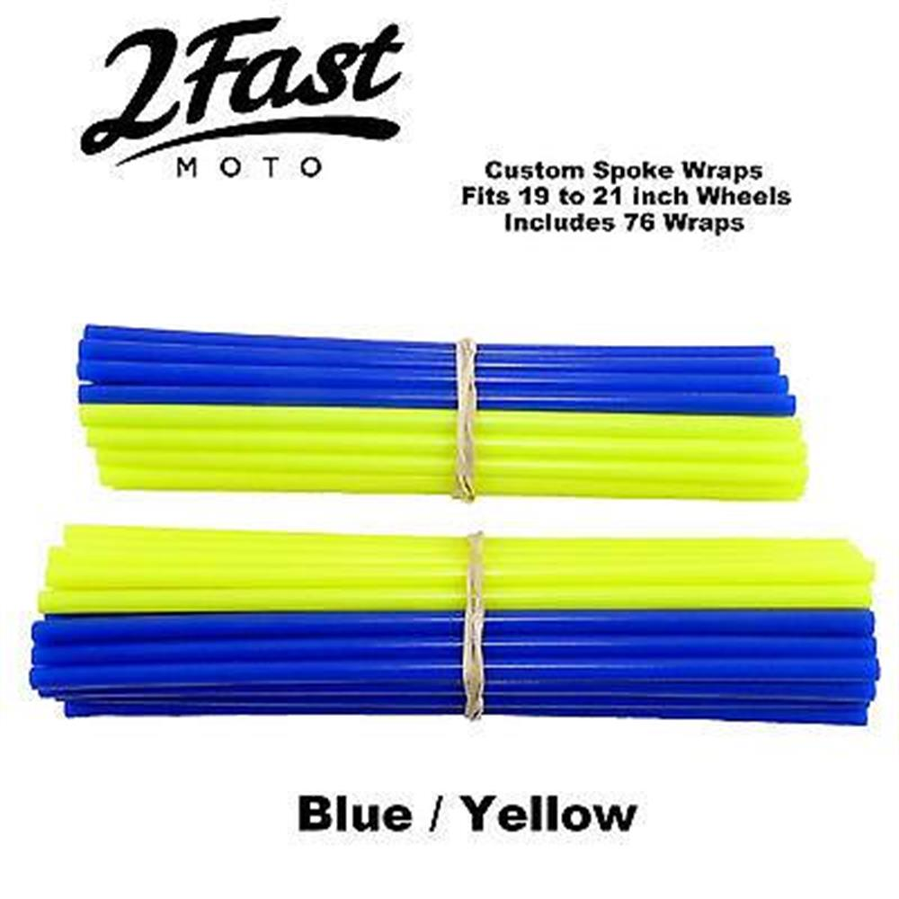 2FastMoto Spoke Wrap Kit Blue Yellow Covers Skins Offroad Dirtbike Kawasaki