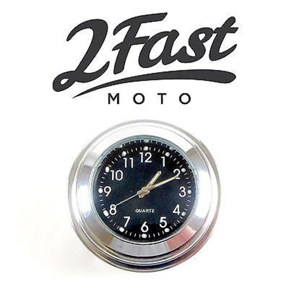 2FastMoto Handlebar Clock Chrome Body Black Face Bobber Chopper Custom Kawasaki