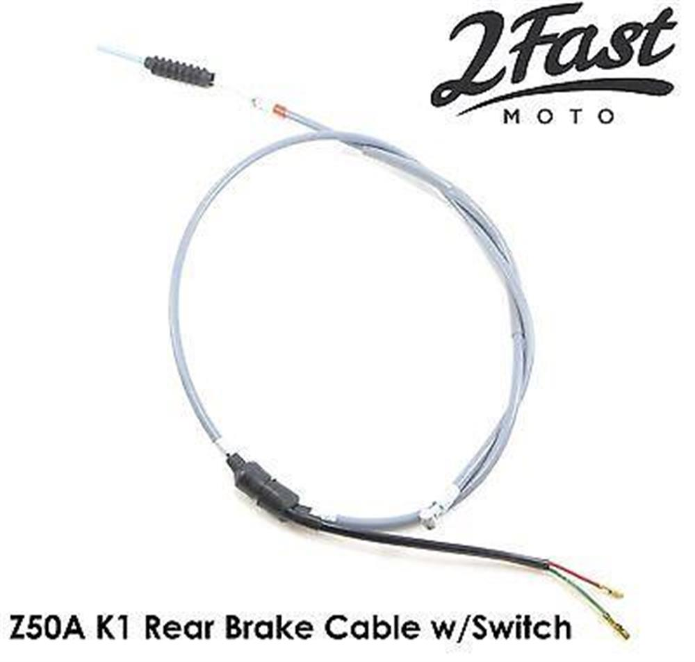 Honda Z50A K1 Gray Rear Brake Cable with Brake Switch Replacement 2FastMoto