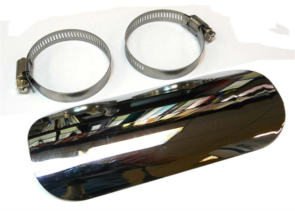 Chopper Bobber Exhaust Pipe Shield Guard Solid Chrome Stainless Steel 2FastMoto