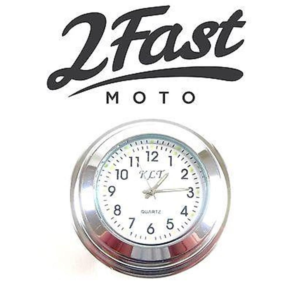 2FastMoto Handlebar Clock Chrome Body White Face Chopper Bobber Victory Buell