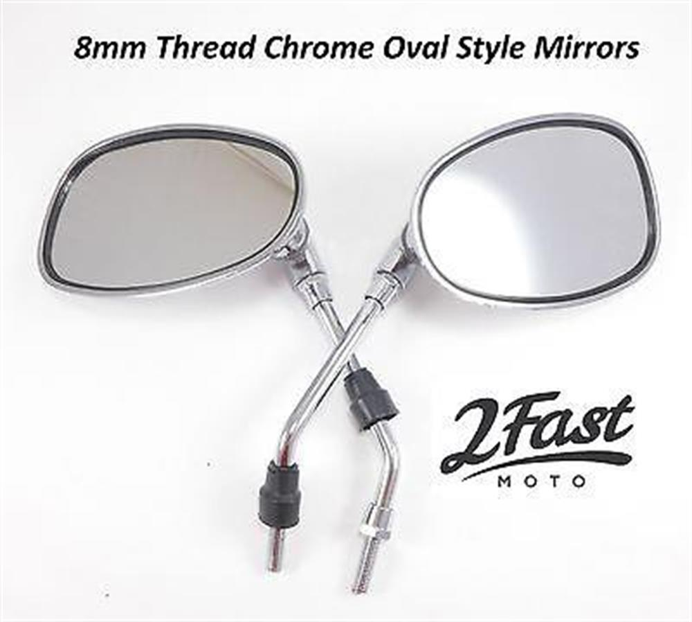 Chrome Oval 8mm Mirror Pair Set Adjustable Motorcycle Scooter Moped Rearview