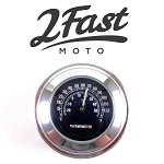 Handlebar Thermometer w/ Chrome Body & Black Face