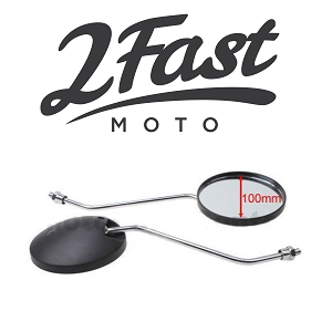 2FastMoto 8mm Mirrors Chrome Stem Black Mirror Housing