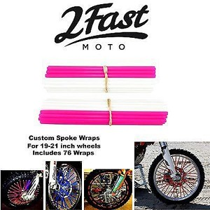 2FastMoto Spoke Wrap Kit Pink White Colors Spokes Skins Covers Wraps Beta