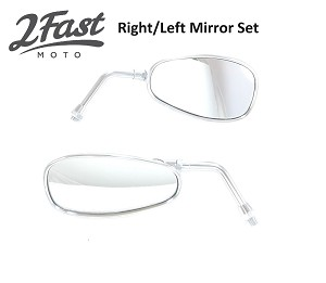 Chrome Right & Left Side Mirror Set for Yamaha Cruisers
