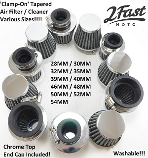 2FastMoto Chrome Clamp-On Air Filters