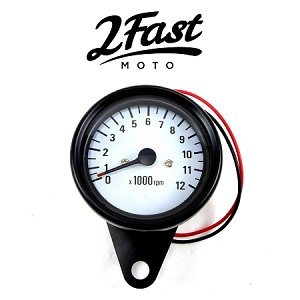 1:4 Ratio Black and White Tachometer Tach 0-12000 RPM