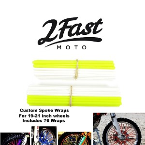 2FastMoto Spoke Wrap Kit Yellow White Custom Colored Spoke Wraps Skins MOTO8